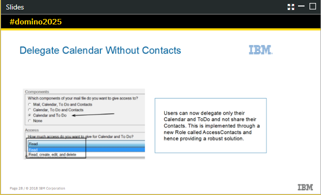 Delegating Notes 10 Calendar Without Sharing COntacts