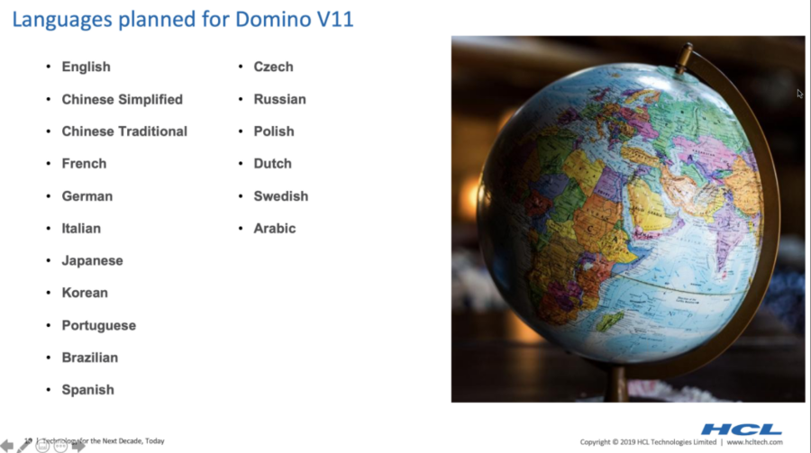 HCL Domino v11 languages